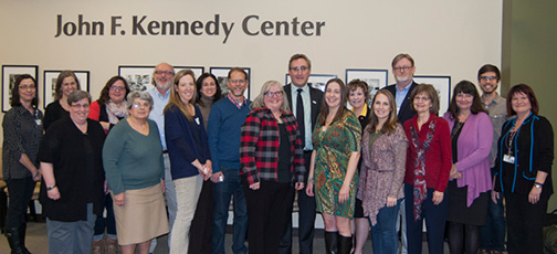 Photo of UCEDD and LEND Trainees and Faculty, VKC Community Advisory Council Members, and disability advocates joined AUCD Executive Director Andy Imparato at 50th Anniversary Kick-Off Community Forum.