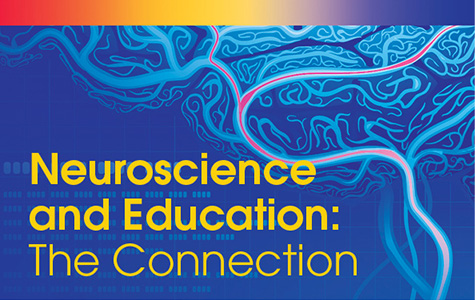 Brain image with text: Neuroscience and Education: The Connection