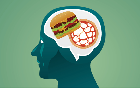 Human head thinking about junk food