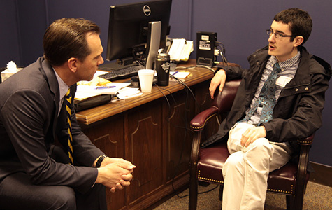 Tennessee State Representative John Ray Clemmons with Next Steps at Vanderbilt student Nick Villarreal during the 2015 Tennessee Disability Day on the Hill.