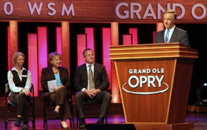 Governor Bill Haslam offers remarks during the Expect Employment Report presentation held at the Grand Ole Opry.Clancey Hopper far left. Photo by Kyle Jonas.