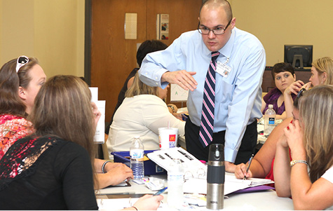 TRIAD Director Pablo Juarez leads an autism training session for Tennessee educators. (Photo Vanderbilt University / Susan Urmy)