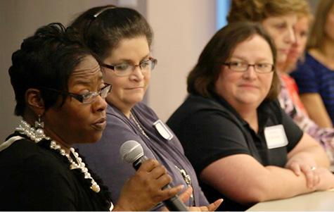 Teachers participate in a Q&A session during a Britt Henderson Training Series workshop.
