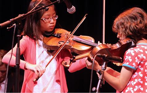 """Sawing on the Strings"" performing at Kickoff."