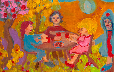 """Red Cups Tea Party"" art by Anne Ambrose"
