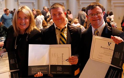 Carrie DePauw, Will McMillan, and Matt Moore at Next Steps at Vanderbilt graduation ceremony. Photo by Joe Howell, Vanderbilt University.