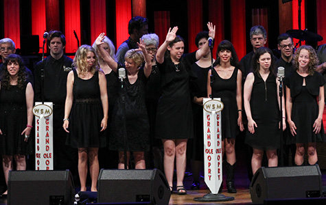 Photo of the 2016 music campers performing at the Grand Ole Opry