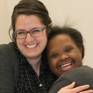 Photo of LEND and UCEDD trainee Megan DeWaard with Next Steps student Nila Huddleston.