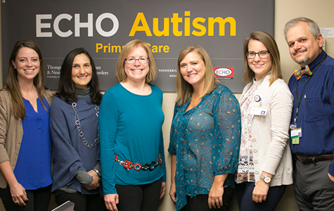 Pictured top of page: The interdisciplinary Vanderbilt ECHO Autism team of specialists shares expertise with primary care clinicians through case-based learning. Pictured left to right: Bethany Drury, MS; Nina Harris, MS; Beth Malow, MD; Whitney Loring, PsyD; Andrea Huxtable, RD; and Quentin Humberd, MD.