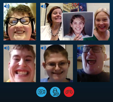 Young adults with Prader-Willi syndrome video conferencing