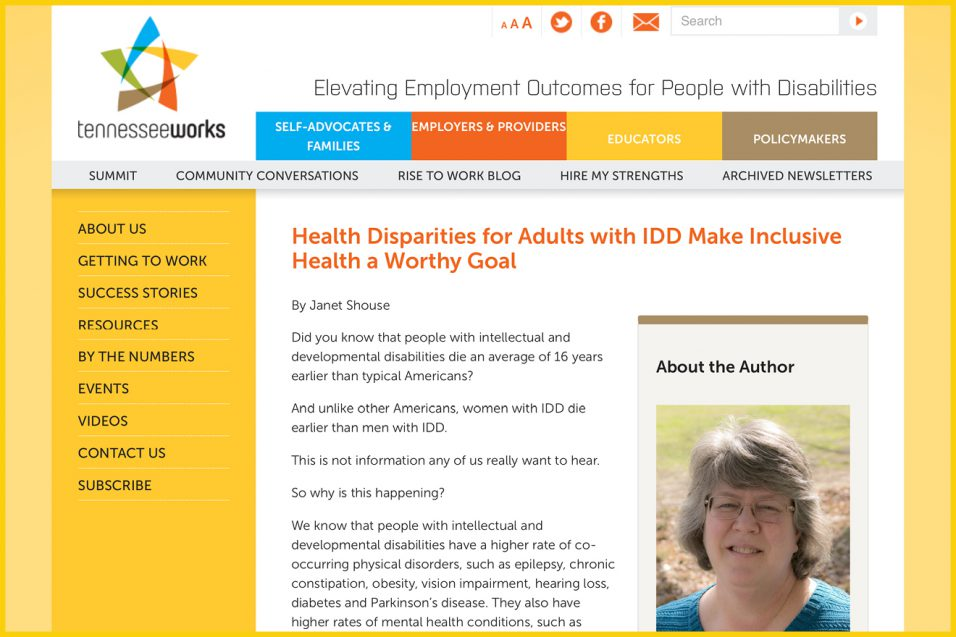 Yellow computer screenshot of blog article by Janet Shouse