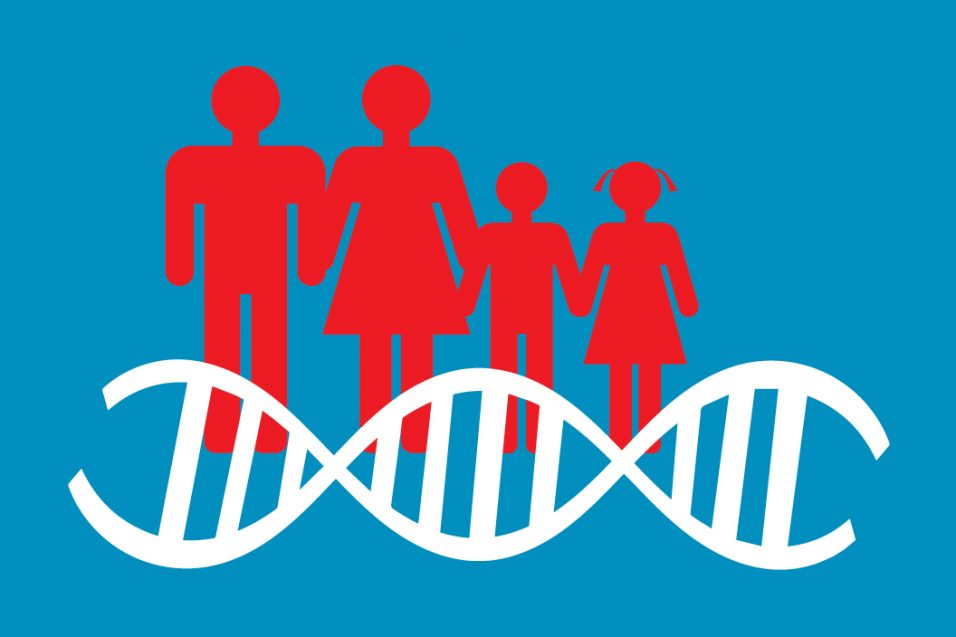 Silhouette of people with dna strand