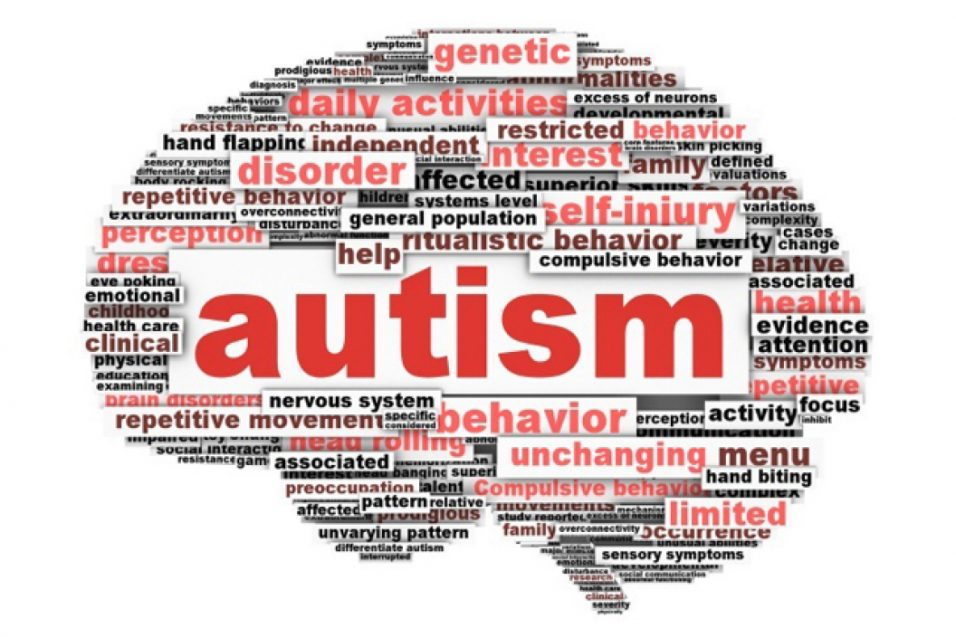 Illustration with autism word cloud on brain